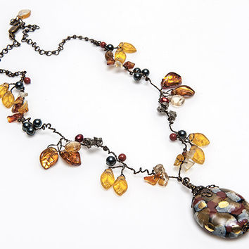 Gold Rust Beaded Necklace, Yellow Rust Leaf Necklace, Autumn Colors Whimsical Necklace, Fall Colors Necklace