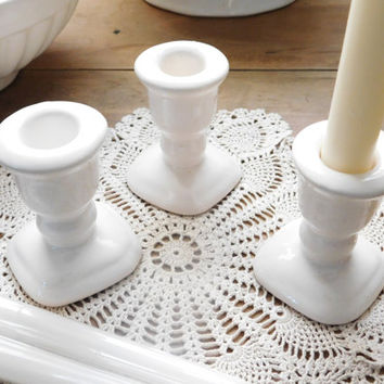 White Ceramic Candlestick Holders Set of 3