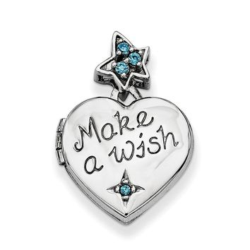 Sterling Silver and CZ Make A Wish Star and Heart Locket, 15mm