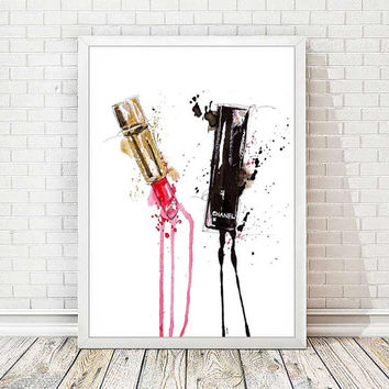 Chanel Print Chanel Lipstick Poster Watercolor Coco Chanel Poster Lips Paris Modern Fashion Illustration Print Abstract Art Wall Decor A131