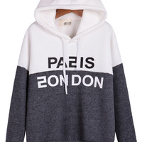 White Grey Hooded Long Sleeve Letters Print Sweatshirt - Sheinside.com