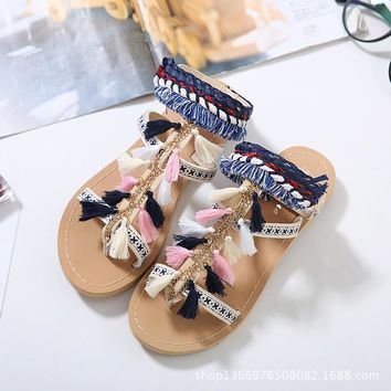 handmade bohemia women gladiator fringe sandals sandalias mujer tassels pom pom tie up summer beach flip flops flat shoes 2643