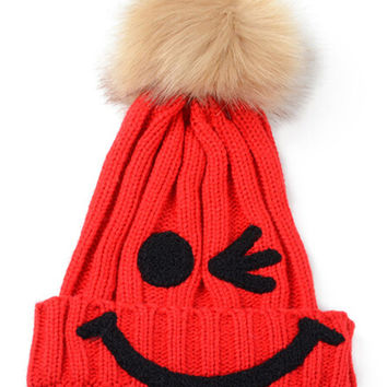 Red Nifty Smiley Knit Pom Pom Hat