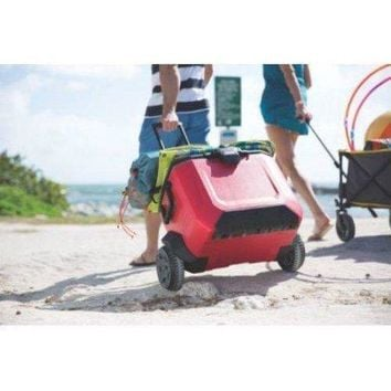 55 Quart Rugged Terrain Portable Extra Large Ice Chest Cooler w Wheels, Wheeled Rolling Cooler