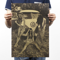 VW Cars And Beautiful Women Poster 20X14