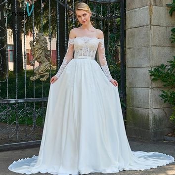 Dressv Long Wedding Dress Floor Length Off The Shoulder Chapel Train Long Sleeves A-line Lace Garden Princess Wedding Dresses
