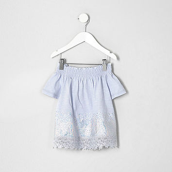 Mini girls blue bardot sequin top