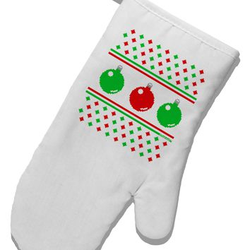 Ugly Christmas Sweater Ornaments White Printed Fabric Oven Mitt