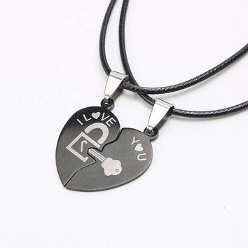 7b3cfcfc86 Fashion Couple Necklace Two Halves of Heart Splicing Pendant Bla