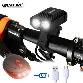 Upgrade Front Bike Headlight USB Bike Handlebar Lamp Built-in Battery 5 Modes Bicycle Light with Red Laser Taillight