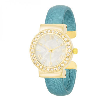 Fashion Shell Pearl Cuff Watch With Crystals - Turquoise