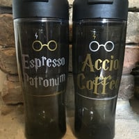 Accio Coffee or Espresso Patronum Travel Mugs inspired Harry Potter