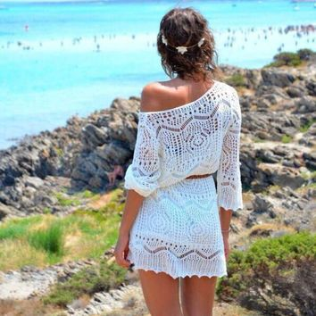 JECKSION Sexy Beach Dress for Women 2016 Fashion Hollow Out White Lace Dress Party Dresses With Belt #LYW