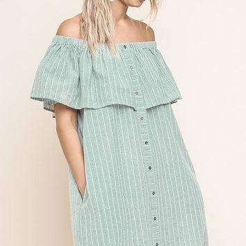 Olive Striped Off Shoulder Button Up Pocket Dress
