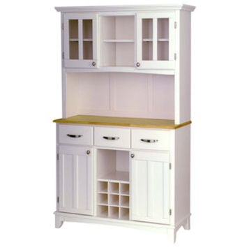 White Hutch Buffet with Wood Top | Overstock.com