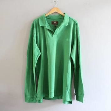 Timberland Polo Shirt Green Cotton Polo Button Up Long Sleeve Oversize Tee Minimalist