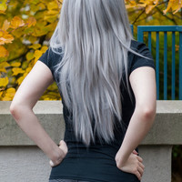 Silver Grey / Long Straight Layered Wig Halloween Holiday