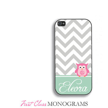 Pink & Green Personalized Owl Monogram Phone Case, cute iPhone 5 case, iphone 4,4s,5,5s,5c, Galaxy S3, S4, S5 fcm-170