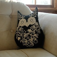Black and Creme Owl Pillow by lolley on Etsy