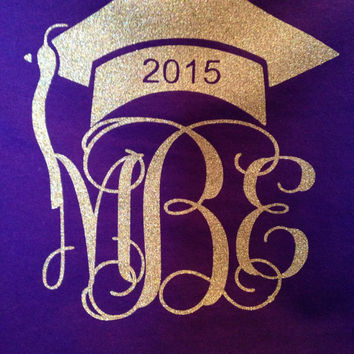 Grad cap with monogram