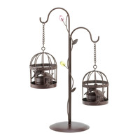 Twin Bird Cage Candle Holder