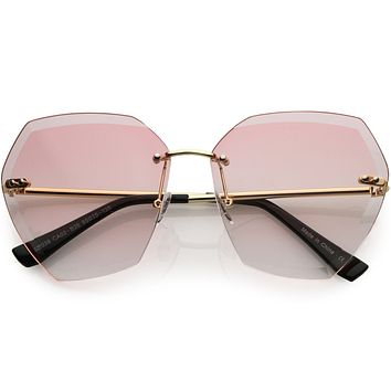 Oversize Rimless Beveled Gradient Lens Geometric Sunglasses D014