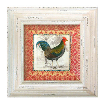Antique Rooster Farmhouse Kitchen Decor / Wall Hanging Decoupage Plate / Cottage White Frame /red and white kitchen home decor