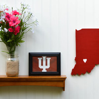 """Indiana Hoosiers """"State Heart"""" wall art, handcrafted wood with official team colors"""