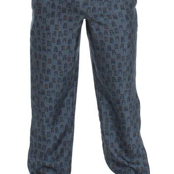 Blue SILK Pajama Lounge Pants Trousers Sleepwear