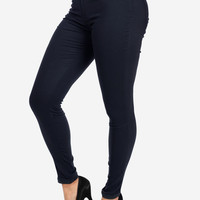 Cheap Trendy Cotton Skinny Dress Pants (Navy) in Pants