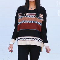 Arrow Stripe Knit Sweater {Black Mix}
