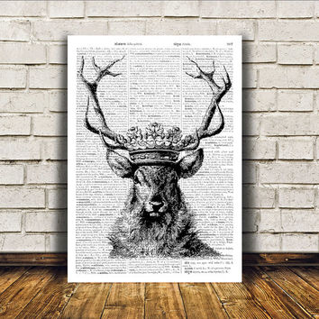Deer art Crowned Stag poster Dictionary print Wall decor RTA168