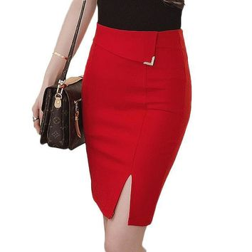 CREYET7 Autumn 5XL Plus Size Slim Office Skirt Faldas Women Sexy Elastic High Waist Pencil Skirt Step Office Formal Skirt Saias Skirts