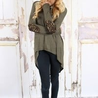Olive Elbow Sparkle Patch Top