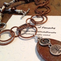 Tree of Life Necklace, Tree Art, Celtic Tree Necklace, Stone Necklace, Rock Necklace, Copper Tree, Tree Necklace, Tree Charms