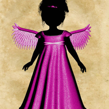 Magenta Angel Image, Silhouette Angel Poster,Angel Wall Art,Angel Print,Silhouette Angel Print,Angel Wall Décor,Kids Room,Baby Room,Poster