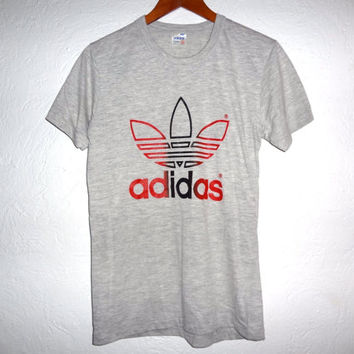 Rare Vintage 80s ADIDAS Trefoil 50/50 Shirt - Medium/Small  - Early 80s Adidas Tee -