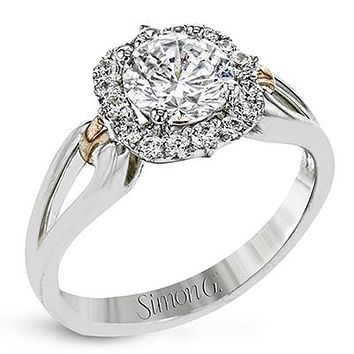 Simon G. Two-Tone Halo Split Shank Diamond Engagement Ring