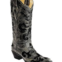Corral Black Crater Sequence Inlay Snip Toe Boots