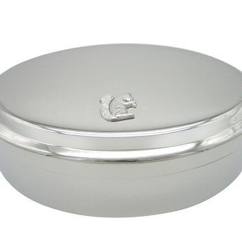 Silver Toned Small Squirrel Pendant Oval Trinket Jewelry Box