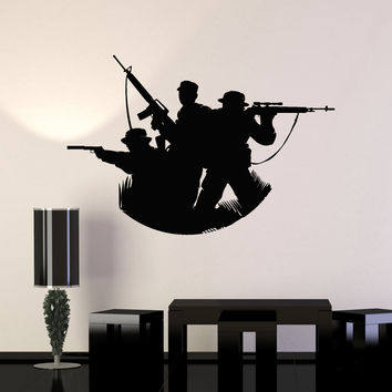 Vinyl Wall Decal Soldiers Silhouette Military Art Decorating War Stickers Mural Unique Gift (ig5051)