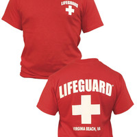 Mens Lifeguard Chest and Back Printed T-Shirt