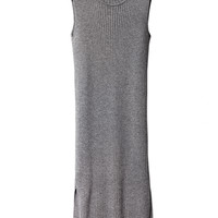 Merchant Merino Rib Polo Dress Grey