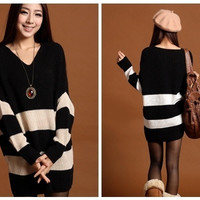 New  Stripes Long V neck Sleeve  Loose Sweater Knitted Dress One Size = 1958002756