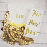 Gold Glitter Birthday Outfit / Personalized 1st Birthday,Glitter Gold Birthday Outfit...Gold Birthday Shorts and Top..Girl Birthday Clothing