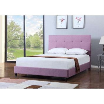 King Size Modern Purple Linen Platform Bed With Upholstered Headboard
