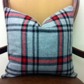 Wool Grey Pillow Covers, Grey Red Plaid Pillow, Grey Decorative Pillows, Grey WoolThrow Pillow, Cozy Pillow, Grey Wool Couch Cushion Covers