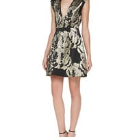 Women's Pacey Metallic Jacquard Structured Dress - Alice + Olivia - Black/Gold