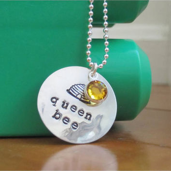 "Queen bee necklace with sterling silver hand stamped ""queen bee"" charm and amber Swarovski crystal"