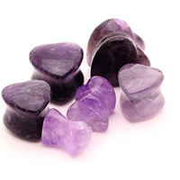 Amethyst Stone Heart Plugs - 0g - 8mm - Sold As a Pair